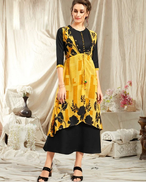 Yellow Rayon Kurti with Jacket