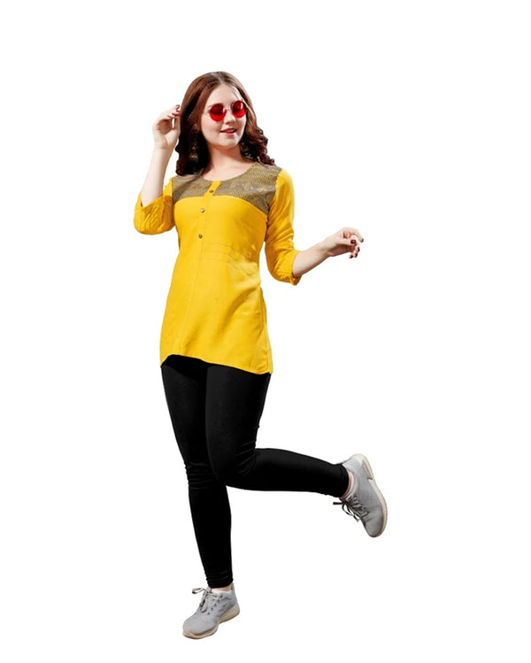 Yellow Rayon Readymade Tops