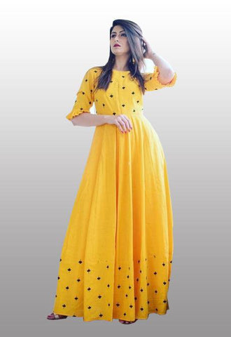 Yellow stylish gown dress
