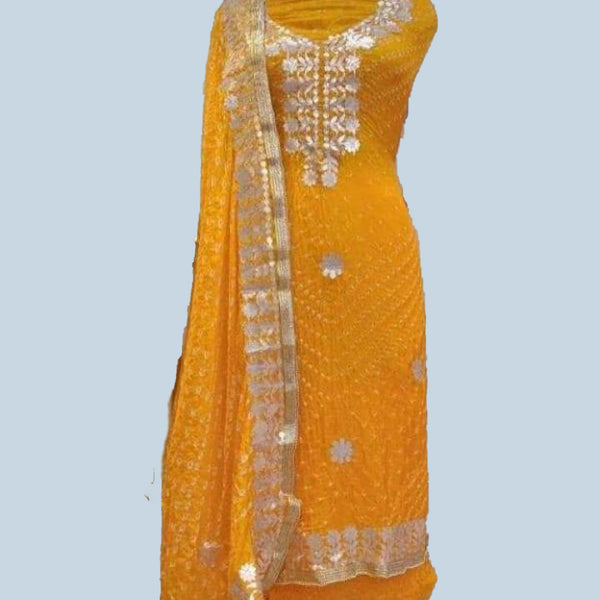 Yellow Bandhej gotta patti dress material