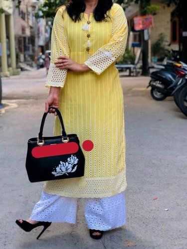 Yellow chicken kurti plazo