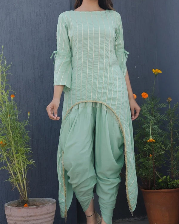 Green Uneven Kurtin Dhoti