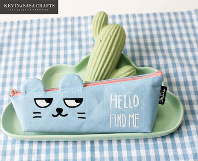 Hello Find Me Cute Animals Stationery School Tools Pencil Case
