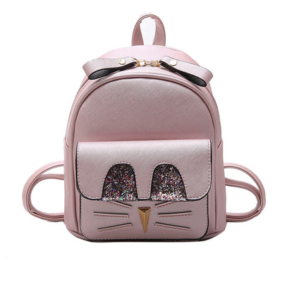 Cuteness Sequin Cat Face Design Mini Backpack For Girls