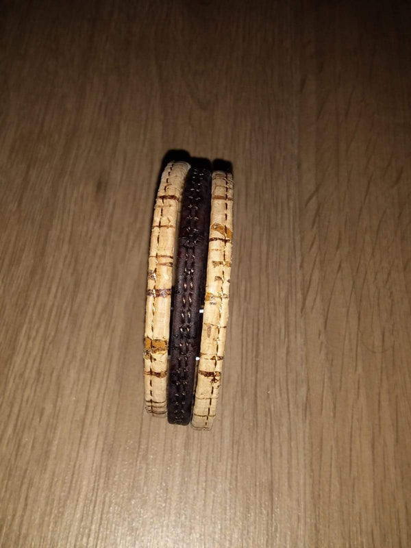 bracelet liege naturel cuir marron