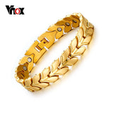 Vnox Health Magnetic Wheat Chain Bracelets for Women Men Power Gold-color Steel Bracelets & Bangles Jewelry