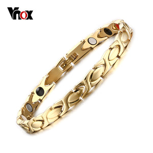 Vnox Women's Health Care Bracelet Bangle Magnetic Hand Chain Stainless Steel Gold-color