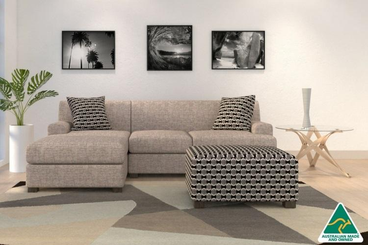 Byron 2 Seater With Chaise Slate Linen Loveseat Sofa Think