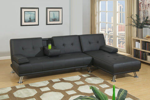 Manhattan Sofa Bed with Chaise (Black)