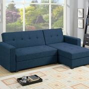 Sofa Bed | Fabric Lounge | Sorrento Sofa Bed Plus Storage (Navy Blue)