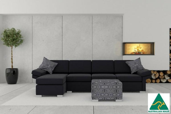 Purchase your new Black Chaise Wembley Sofa from Quality Sleep with interest free beds and furniture delivering to Brisbane and Gold Coast