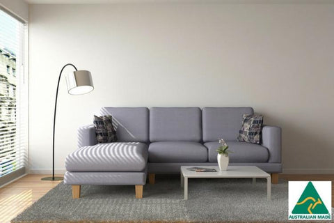 Purchase this lovely Grey Chaise York 3 seater Sofa from Quality Sleep the interest free mattress factory