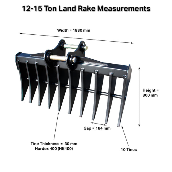 Rhinox 12 - 14 Ton Land Clearance Rake With Dimensions