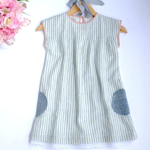 khadi stripe dress front