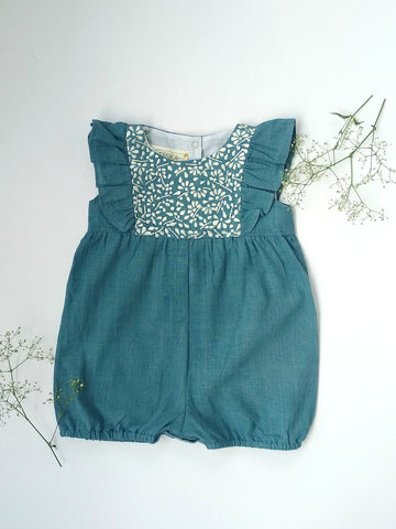 Embroidered romper in Indigo