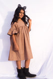 Peplum dress in COCOA