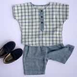 Khadi short sleeve shirt indigo checks front