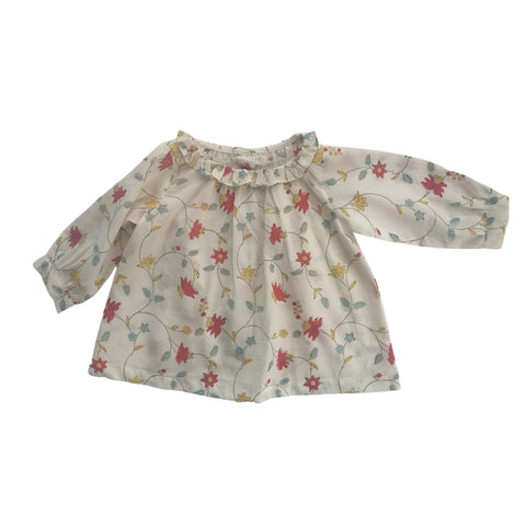 Poppy baby blouse in block printed organic cotton