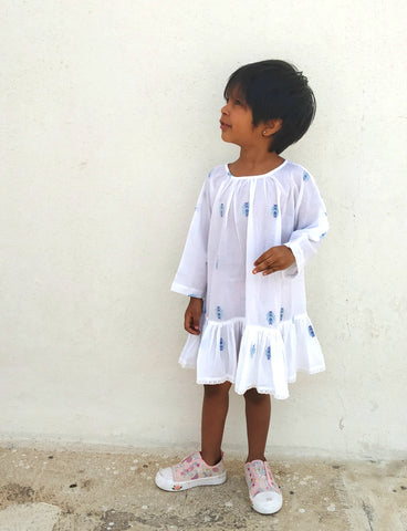 Gelato tunic in white and blue