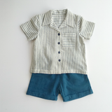 Sail away shirt & shorts set in stripe
