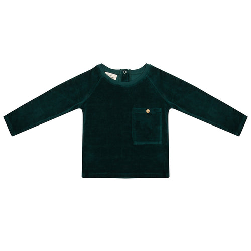 Sweater Pine Trees Green Velour