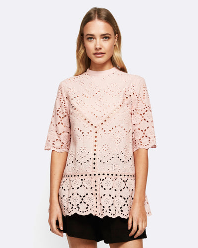 Summer Bloom Lace Top - Blush
