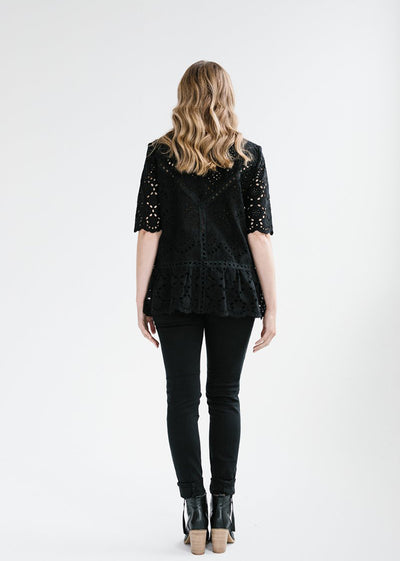 Summer Bloom Lace Top - Black