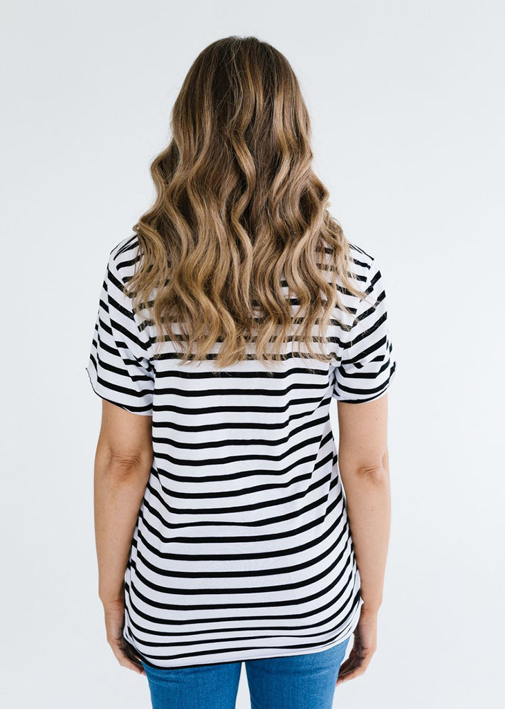 Stripe Deep V Tee
