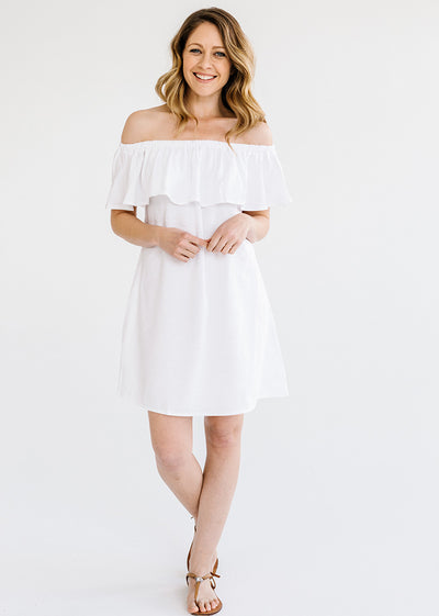 Linen Frill Dress - White