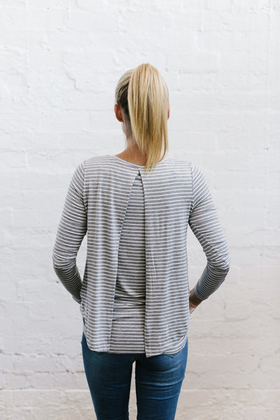 Swing Back Nursing Top - Grey Stripe