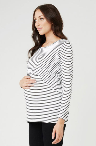 Swing Back Nursing Top - White Stripe