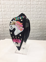Emoji Unicorn Initial Black Turban Hairband