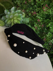 Black Knotted Pearly Turban Hairband