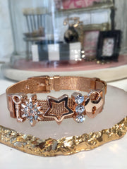 Shooting Star Lock Rose Gold Charm Strap Bracelet