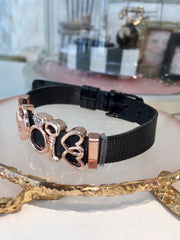 Heart Lock Gold Black Charm Strap Bracelet
