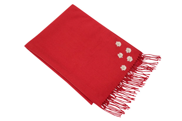 Floral Wine Red Scarf