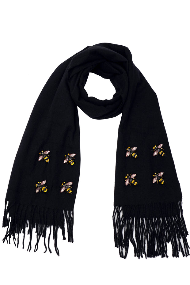 Bee Black Scarf