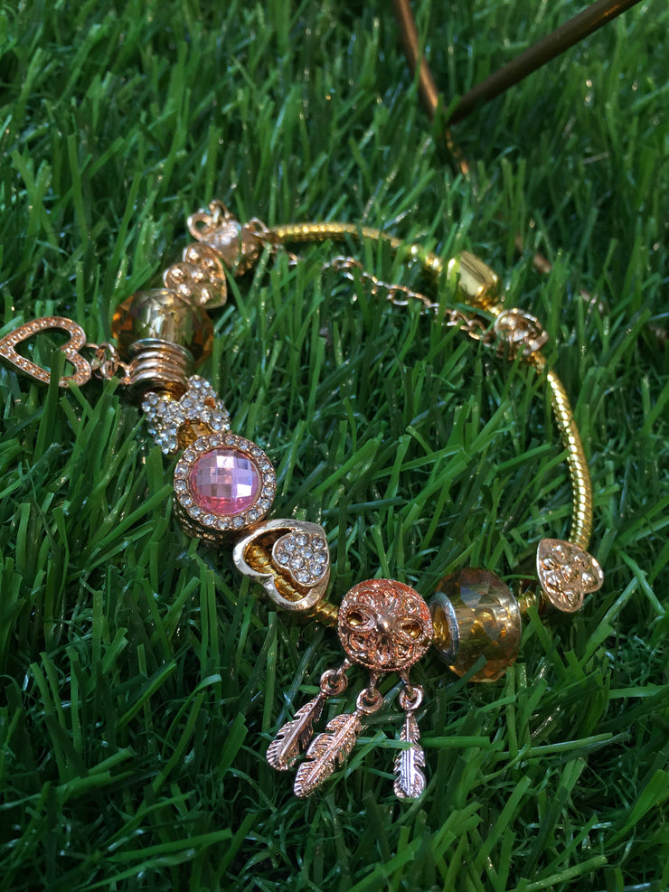 Heart Dream Catcher Gold Charm Bracelet