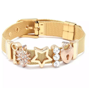 Shooting Star Lock Gold Charm Strap Bracelet