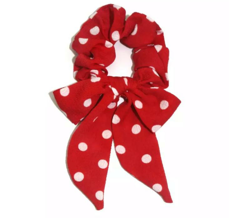 Red Dotted Scrunchie
