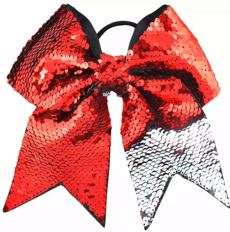Red Sequin Hair Bow Rubber Band