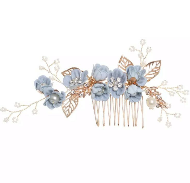Indigo Pearly Hair Comb