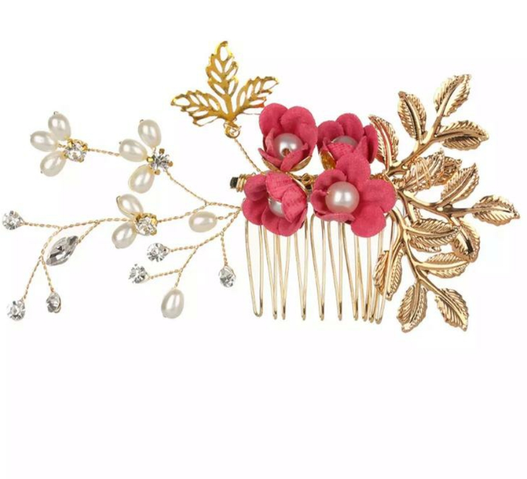Floral Red Rose Hair Comb