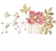 Floral Pearly Baby Pink Hair Comb