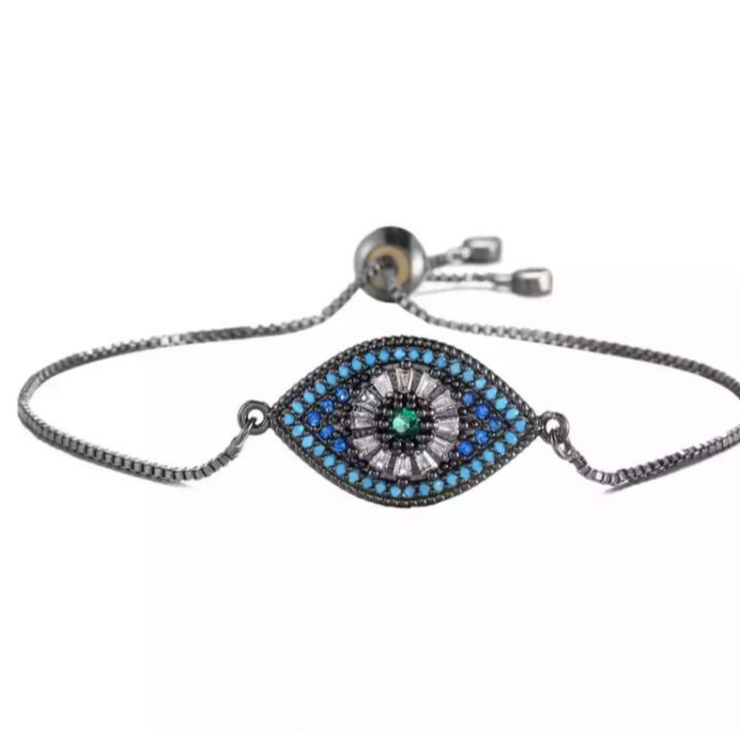 Blue Green Evil Eye Grey String Adjustable Bracelet