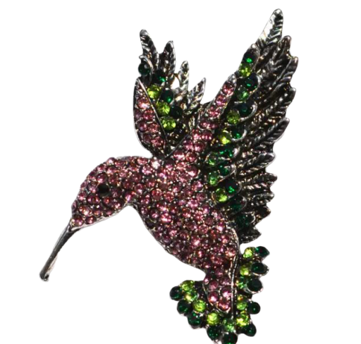 Bird Pink Green Brooch
