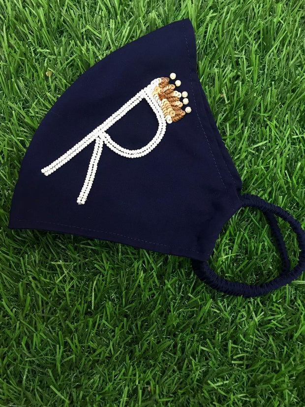Midnight XOXO Dark Blue Initial Mask