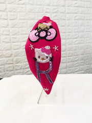 Kitten Initial Barbie Pink Hairband
