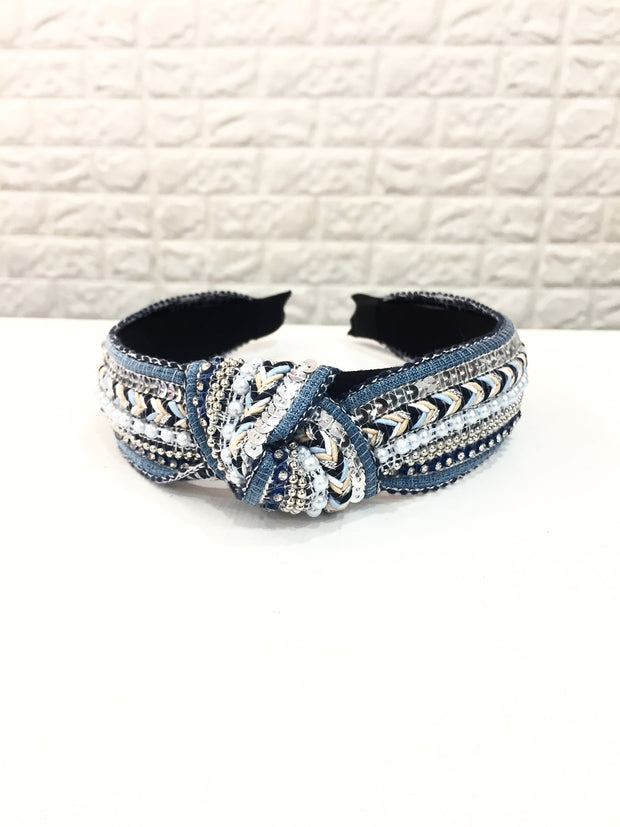 Blue Embroidered Hairband