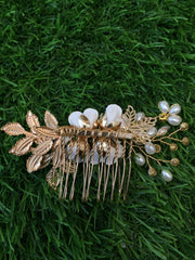 White Rose Hair Comb